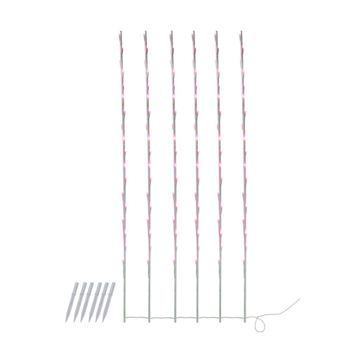 108 Pink Pre-Lit LED Branch Patio Outdoor Garden Novelty Christmas Light Stakes - 8.5 ft White Wire - IMAGE 1