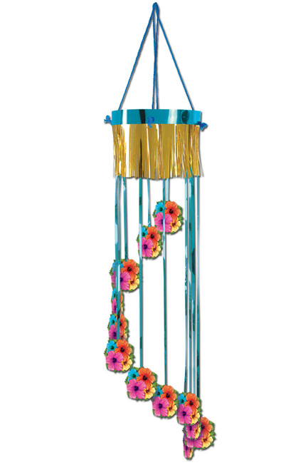 """Club Pack of 12 Blue and Gold Hibiscus Flower Tropical Luau Beach Party Spiral Hanging Decors 40"""" - IMAGE 1"""