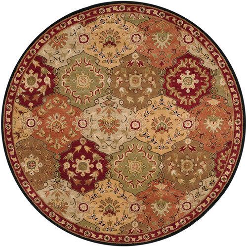 8' Clover Brown and Olive Green Round Wool Area Throw Rug - IMAGE 1