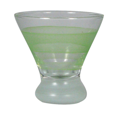 Set of 2 Green and Clear Striped Cosmopolitan Wine Glasses 8.25 oz. - IMAGE 1