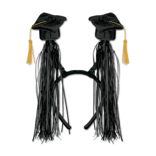 Club Pack of 12 Black Graduation Cap with Fringe Bopper Headband Party Favors - IMAGE 1