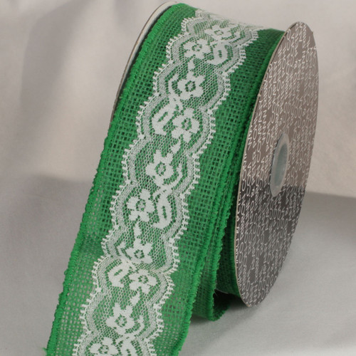 """Green and White Floral Print Lace Craft Ribbon 2.5"""" x 10 Yards - IMAGE 1"""