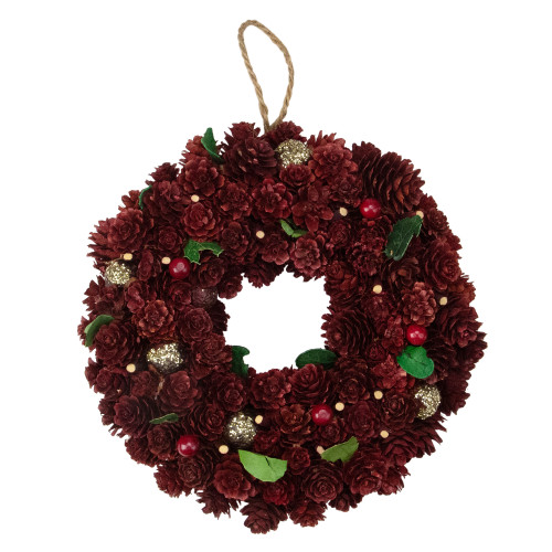 Red and Gold Pine Cone Artificial Christmas Wreath - 9.5-Inch, Unlit - IMAGE 1