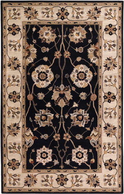 5' x 8' Taupe Brown and Black Floral Hand Tufted Wool Area Throw Rug - IMAGE 1