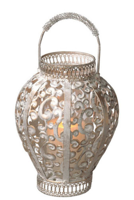 """13"""" Distressed Gray and Gold Scroll Cut-Out Pillar Candle Lantern - IMAGE 1"""