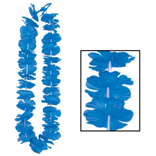 """Club Pack of 12 Bright Blue Hawaiian Luau Tropical Beach Party Floral Necklaces 36"""" - IMAGE 1"""