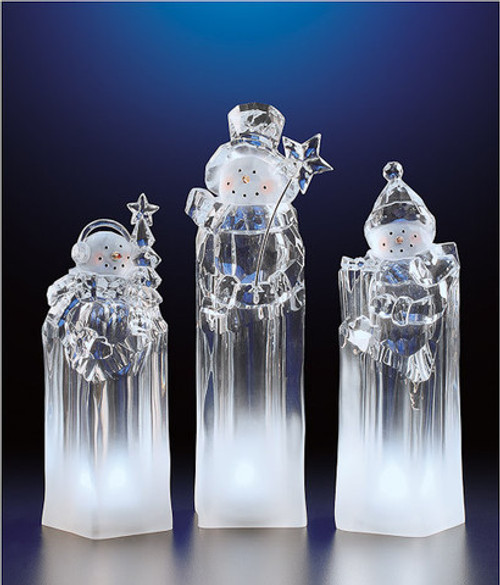 """Set of 6 Icy Clear Decorative Snowmen Tower Christmas Table Top Figurines 8"""" - IMAGE 1"""