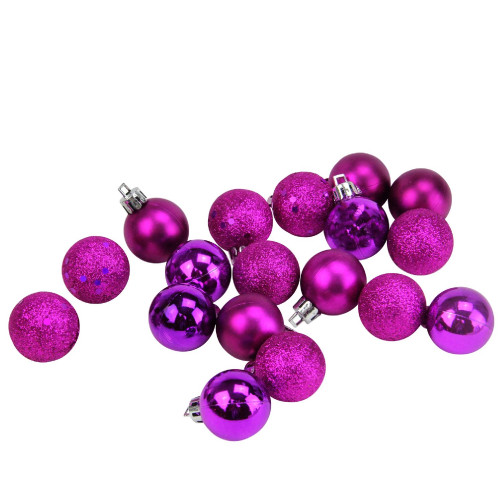 "18ct Eggplant Purple Shatterproof 4-Finish Christmas Ball Ornaments 1.25"" (30mm) - IMAGE 1"