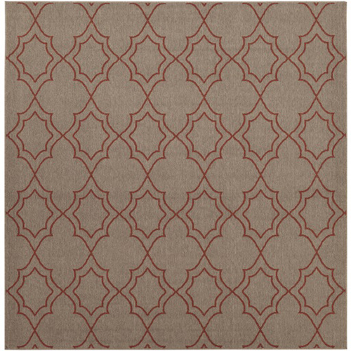 8.75' Gray and Burgundy Red Contemporary Square Area Throw Rug - IMAGE 1