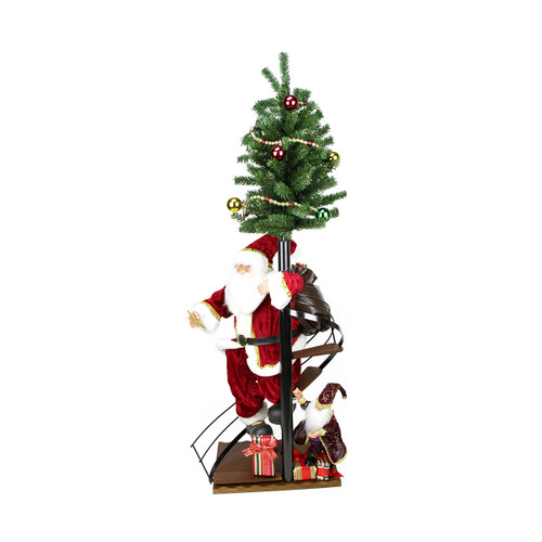 """50"""" Santa Claus on Spiral Staircase with Tree and Elf Christmas Figure on Wooden Base - IMAGE 1"""