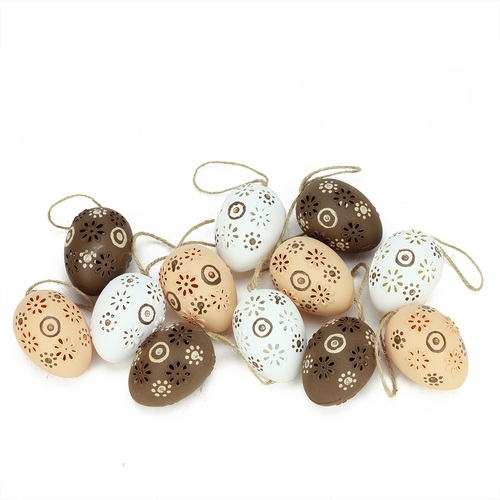 """12ct Brown and White Floral Cut-Out Easter Egg Ornaments 2.25"""" - IMAGE 1"""