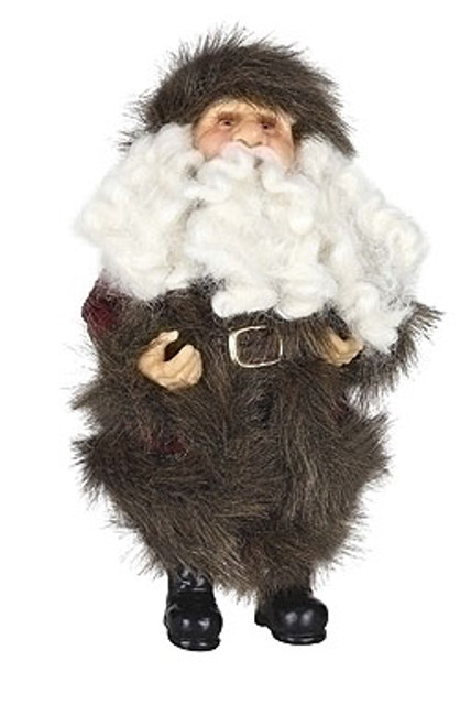 """10"""" Brown and White Christmas Santa Claus in Burgundy Faux Fur Suit Figure - IMAGE 1"""