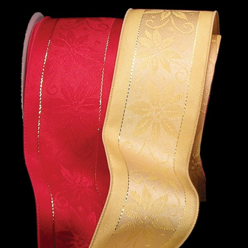 "Gold Floral Wired Craft Ribbon 2.5"" x 20 Yards - IMAGE 1"