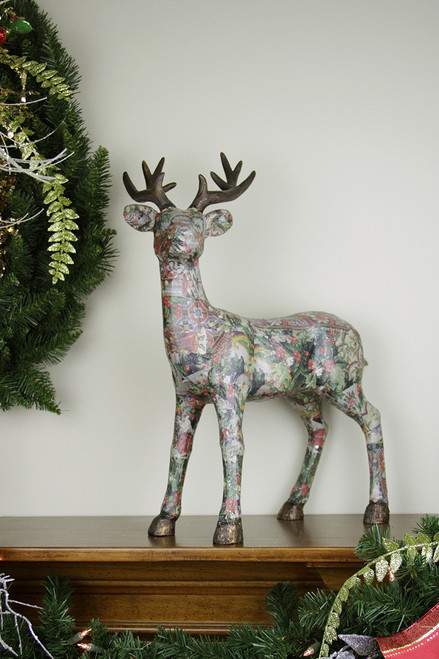"20"" Victorian Holly Berry Decoupage Reindeer Tabletop Decor - IMAGE 1"