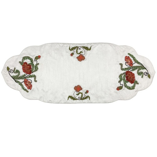 "13.75"" x 35"" White and Red Rectangular Table Runner - IMAGE 1"