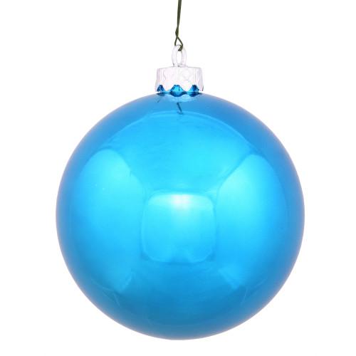 "Shiny Turquoise Blue Shatterproof Christmas Ball Ornament 2.75"" (70mm) - IMAGE 1"