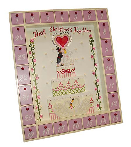 """17"""" Pink and Beige First Christmas Together Wedding Advent Calendar - IMAGE 1"""