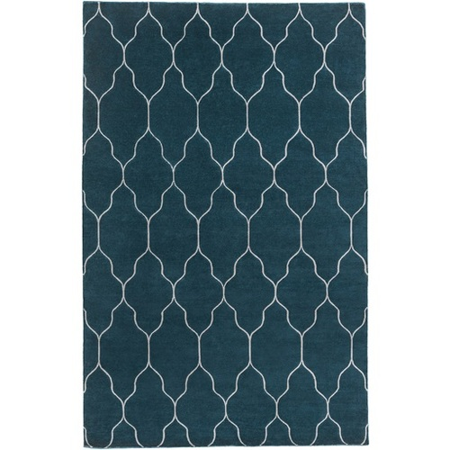8' x 11' Contemporary Teal Blue and Dove Gray Wool Area Throw Rug - IMAGE 1