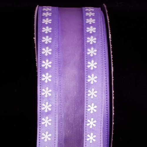 "Purple and White Floral Wired Craft Ribbon 1.5"" x 40 Yards - IMAGE 1"