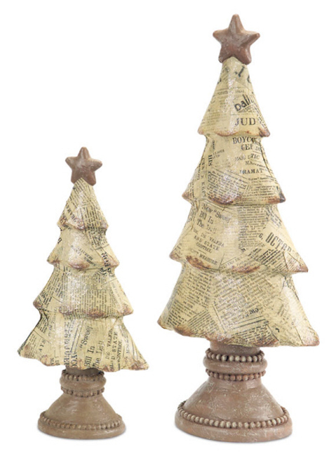 """Set of 2 Beige and Brown Newspaper Print Tabletop Christmas Tree Decor 15"""" - IMAGE 1"""