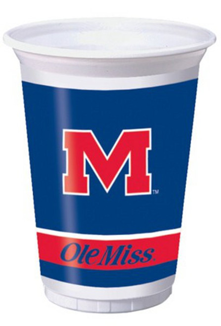 Club Pack of 96 Blue NCAA Ole Miss Rebels Disposable Plastic Drinking Party Tumbler Cups 20 oz. - IMAGE 1