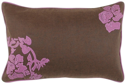 """20"""" Brown and Pink Floral Pattern Square Throw Pillow - Down Insert - IMAGE 1"""