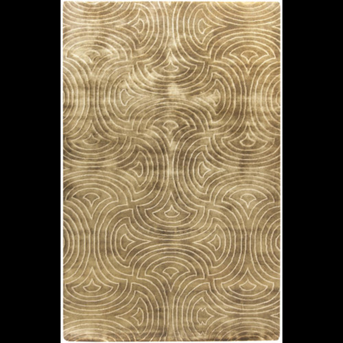 9' x 13' Twirling Maze Gold and White New Zealand Wool Area Throw Rug - IMAGE 1