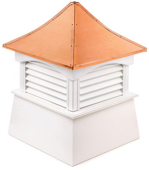 """29"""" White and Red Coventry Vinyl Cupola with Copper Roof - IMAGE 1"""