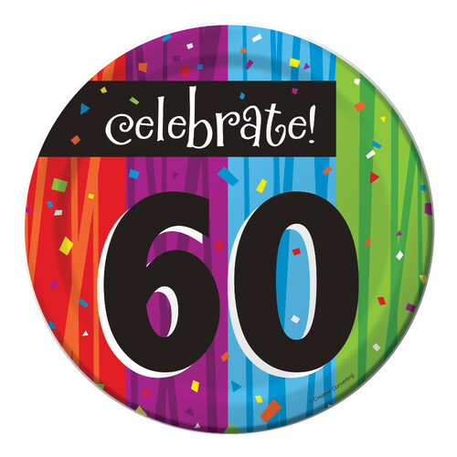 "Club Pack of 96 Milestone Celebrations ""Celebrate 60"" Disposable Paper Party Lunch Plates 7"" - IMAGE 1"