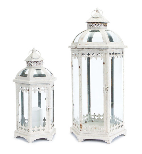 "Set of 2 Fleur de Lis Weathered White Metal and Glass Pillar Candle Holder Lanterns 24.5"" - IMAGE 1"