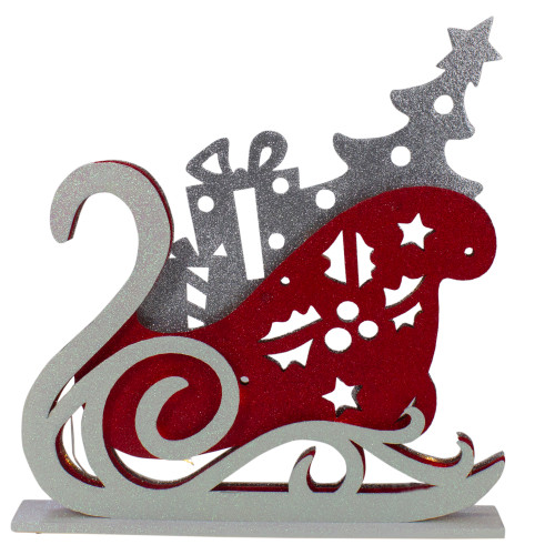 """18"""" Pre-Lit Red and Silver LED Sleigh Christmas Tabletop Silhouette Decoration - IMAGE 1"""