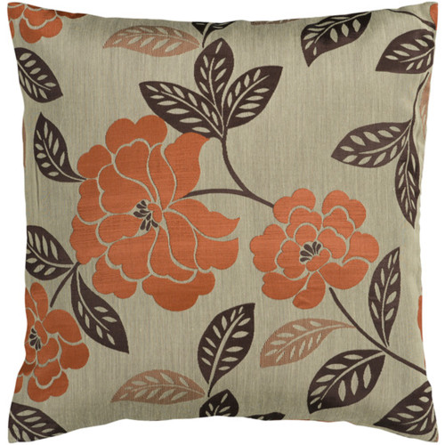 """18"""" Orange and Brown Contemporary Floral Square Throw Pillow - Down Filler - IMAGE 1"""