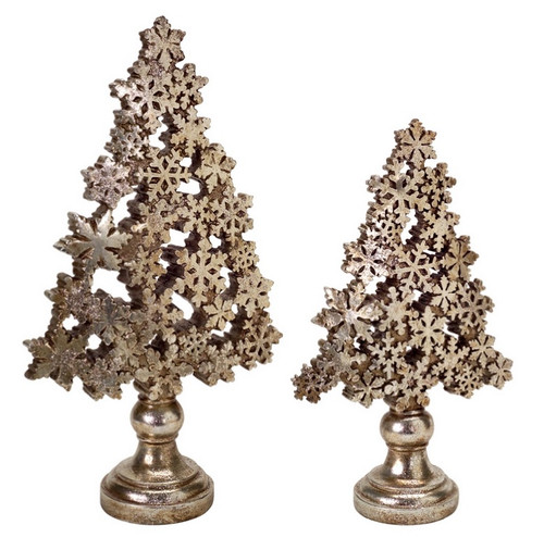 "Set of 2 Gold Snowflake Christmas Tree Tabletop Decors 18.5"" - IMAGE 1"
