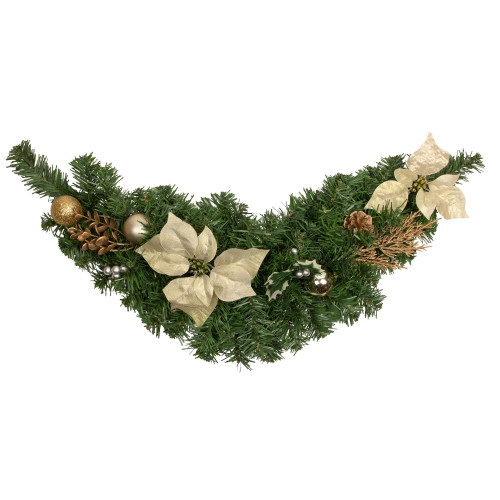 "30"" Gold Poinsettia and Pinecone Artificial Christmas Swag - Unlit - IMAGE 1"