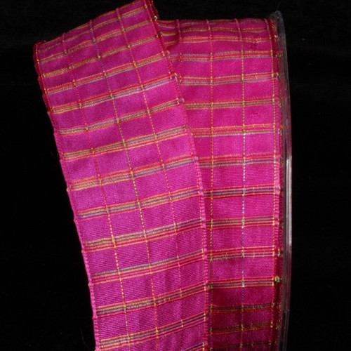 """Pink Checkered Wire Edged Craft Ribbon 1.5"""" x 27 Yards - IMAGE 1"""