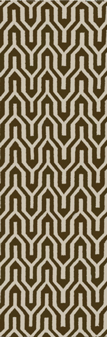 2.5' x 8' Ivory and Olive Green Hand Woven Rectangular Wool Area Throw Rug Runner - IMAGE 1