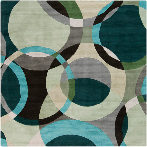8' x 8' Blue and Gray Contemporary Hand Tufted Square Wool Area Throw Rug - IMAGE 1