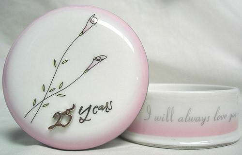 "4.5"" Pink and White 25th Wedding Anniversary Keepsake Box - IMAGE 1"