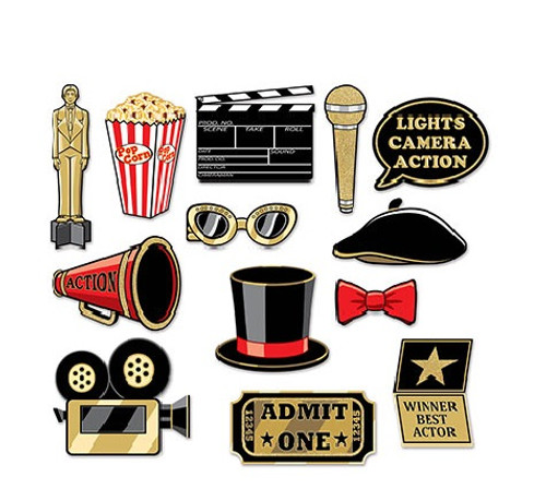 """Club Pack of 156 Black and Gold Awards Night Glittered Photo Props 11"""" - IMAGE 1"""