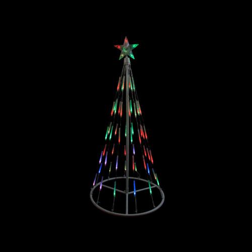 6' Pre-Lit LED Lighted Meteor Effect Snowflake Hoop