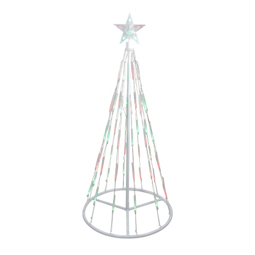 4' Pre-Lit Green and Red Single Tier Bubble Show Cone Christmas Tree Outdoor Decor - Multi Lights - IMAGE 1