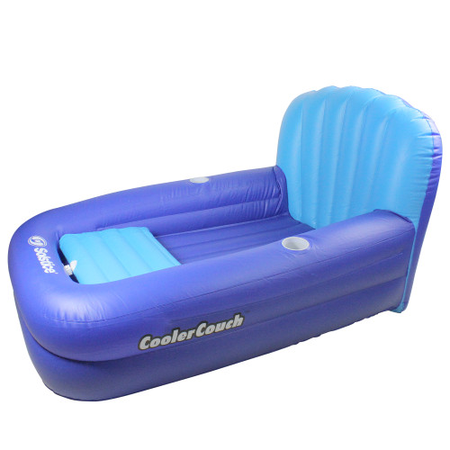 54-Inch Inflatable Blue Swimming Pool Lounger with Ice Cooler - IMAGE 1