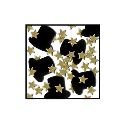 Club Pack of 12 Black and Gold Fanci-Fetti Awards Night Celebration Confetti Bags 1 Oz - IMAGE 1