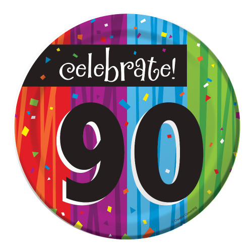 "Club Pack of 96 Milestone Celebrations ""Celebrate 90"" Disposable Paper Party Lunch Plates 7"" - IMAGE 1"