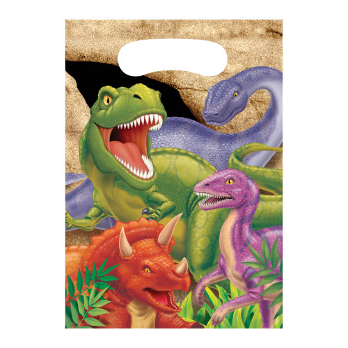 "Club Pack of 96 Green and Purple Dino Blast Loot Bags 9"" - IMAGE 1"