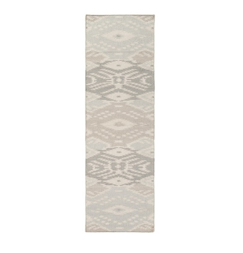 2.5' x 8' Gray and White Hand Woven Area Throw Rug Runner - IMAGE 1