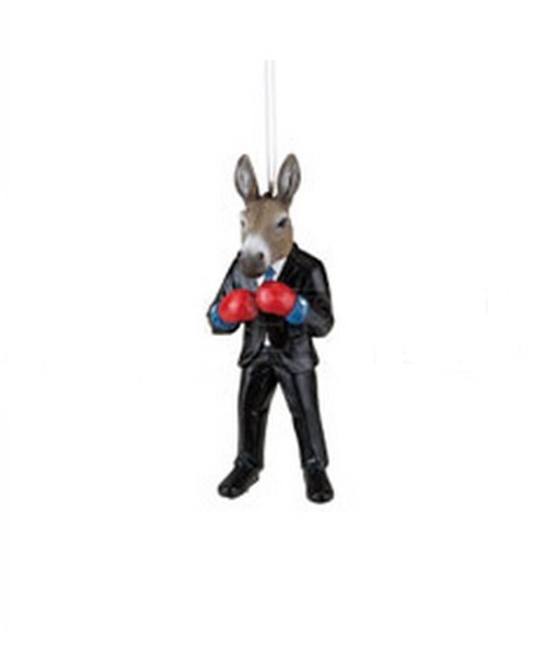 """4.5"""" Black and Gray Donkey Boxer in Suit Christmas Ornament - IMAGE 1"""