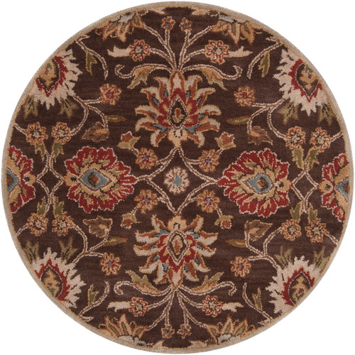 6' Floral Olive Green and Russet Brown Round Wool Area Throw Rug - IMAGE 1