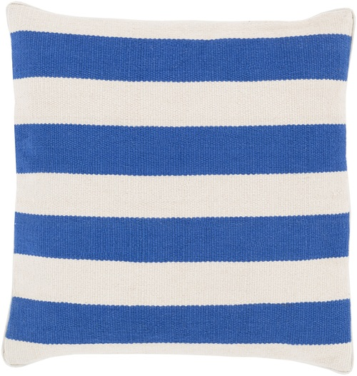 "20"" Blue and Ivory Decorative Square Throw Pillow - Down Filler - IMAGE 1"