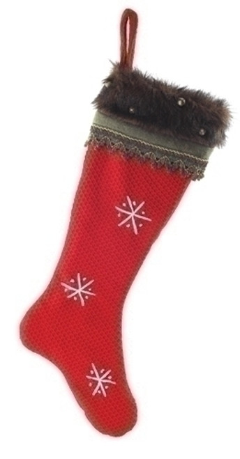 "26"" Red and Gray Contemporary Snowflake Christmas Stocking - IMAGE 1"